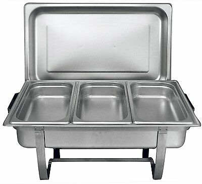 Tiger Chef 8 Quart Full Size Stainless Steel Chafer 3 1/3rd Size Chafing Food on