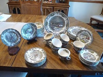 Johnson Brothers FRIENDLY VILLAGE Multi Motiff  40 Pc Dish Set  Made in England