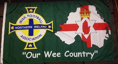"""Northern Ireland Football Flag / Ulster / """"our Wee Country"""" / 5X3F Flag"""