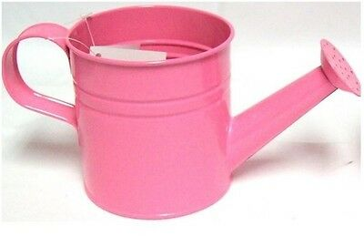Pastel Coloured Kids Childrens Small Zinc Metal Watering Can Plant Pot Tin PINK