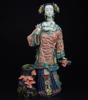 China Pottery Wucai Porcelain Home Display Woman Ladies Autumn Decoration Statue