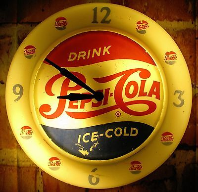 Vintage Drink Pepsi Cola Ice Cold Advertising Products Lighted Wall Clock Sign