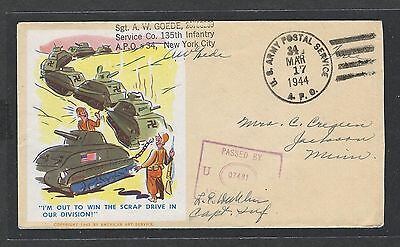 mjstampshobby 1944 US Army Postal Service Cover VF Cond (Lot1452)