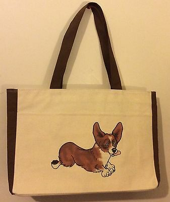 NEW Large Custom Design Drawing Canvas Tote Beach Bag Corgi Dog
