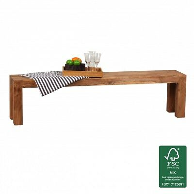 FineBuy Acacia solid wood dining bench 180 x 35 cm seat furniture NEW