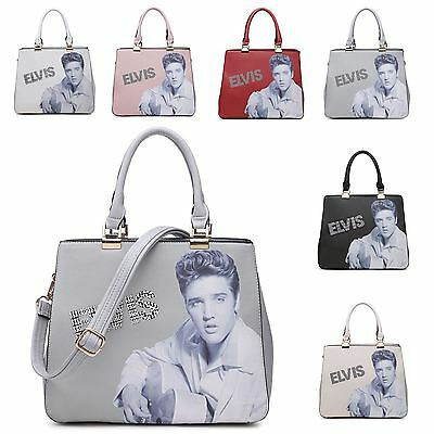 Womens Elvis Presley Adjustable Strap Faux Leather Rhinestone Shoulder Hand Bag