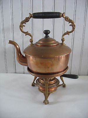 Vintage Copper & Brass Tea Pot Kettle w/ Ornate Stand Wood Handle & Warmer