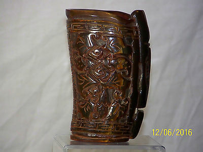 Chinese Hand Carved Buffalo/Ox Horn Libation Cup