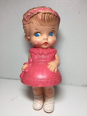 Vintage Edward Mobley 1958 Pink Dress Rubber Squeaky Girl Doll Toy