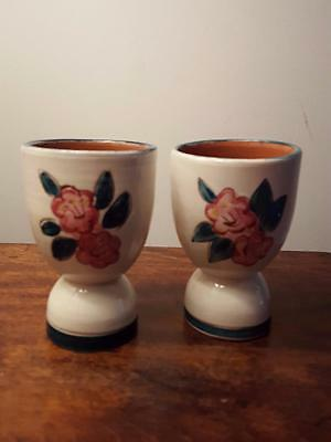 Pair Vintage Stangl Pottery Mountain Laurel Double Egg Cups