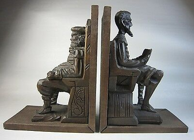Vintage Spanish Spain DON QUIXOTE & PANCHO VILLA Wood Carved Carving Bookends