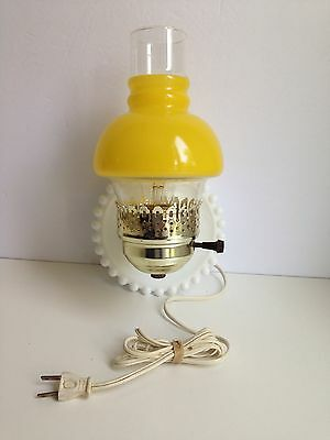 Vintage Milk Glass Hobnail Light Fixture Sconce Lemon Yellow Hurricane Shade