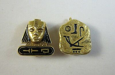 Lot 2 Unknown Fraternal Pin Egyptian Sphinx Hieroglyphic 10k & 14k Gold - 3.6-g