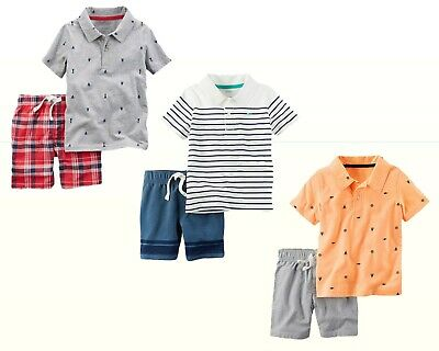 NWT New Carter's Baby/Toddler Boys Polo Shirt & Shorts 2-Pc Playwear Outfit Set