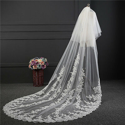2 Tier Bluser Bridal Veil Lace Edge Cathedral Length Comb on 110 Inches Long
