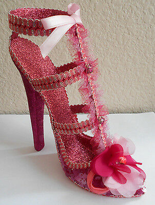 Katherines Collection High Heel Shoe Pink Glitter New