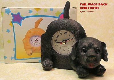Black Lab Puppy Dog Wagging Tail Tabletop Quartz Clock - New In Box!  Dgcfbz