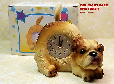 Bull Dog Puppy Wagging Tail Tabletop Quartz Clock - New In Box!  Dgcfbz