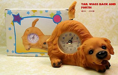 Golden Retriever Puppy Dog  Wagging Tail Tabletop Quartz Clock  New!  Dgcfbz