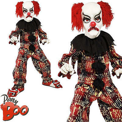 Scary Clown Boys Halloween Fancy Dress Killer Circus Horror Kids Child Costume