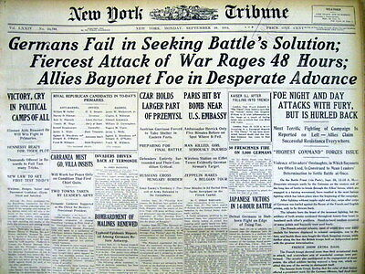 17 best WW I hdln newspapers FIRST BATTLE OF THE MARNE France repels GERMAN ARMY