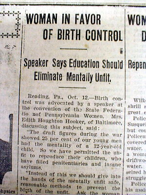 1922 newspaper w Early report of WOMAN advocating BIRTH CONTROL for EUGENICS