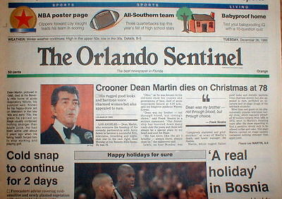 1995 newspaper Singer DEAN MARTIN DEAD Former partner Comedy Duo w/ JERRY LEWIS