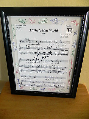 Aladdin Cast Signed Montage A Whole New World Sheet Music Signed by Alan Menken