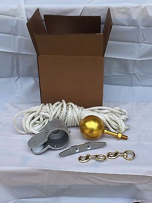 Flagpole Repair Rope Parts Kit for up to 25' ft flag poles w/ gold ball, pulley