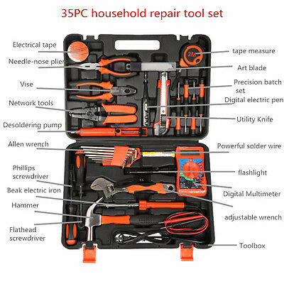 35pc Electrician's Tools Set Home Commercial Electric Screwdriver Wrench Bag Kit