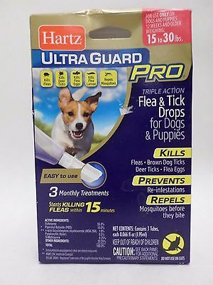 Hartz Ultra Guard Pro Flea and Tick Drops For dogs and Puppies 15 to 30 lbs New