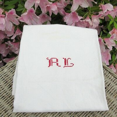 """Vintage French Linen Dish Towel, Monogrammed, 28"""" x 25 ¼"""""""