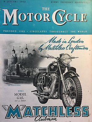 The Motorcycle Magazine # 08/01/1953 # Matchless G3/l Cover # Vintage Magazine