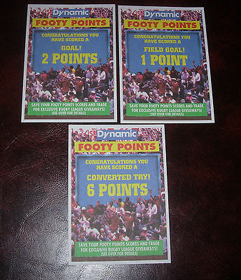 3 DYNAMIC FOOTY POINTS PAPER CARDS~1994 Series 1~Dynamic Rugby League