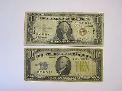 Series 1934A $10 No. Africa Yellow Seal & 1935A $1 Hawaii Brown Seal Silver Cert