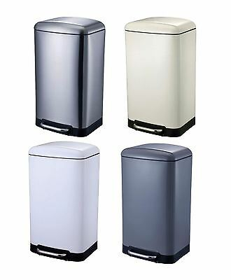 New Metal Quality Oslo Coloured 30 Ltr Soft Close Pedal Waste Paper Rubbish Bin