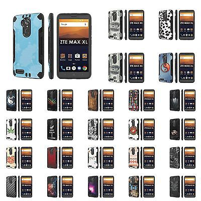 For ZTE [Max XL] [Blade Max 3 Z986] [Zmax Pro 2] Dual Armor ShockProof Case