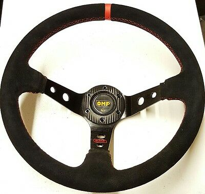 Omp 350mm Suede Leather Deep Dish Steering Wheel MOMO RED Drift NARDI Carbon WRC