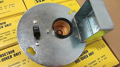 """Bussman SSX Fuse Holder with on off switch mounted on 4"""" Oct box cover plate"""
