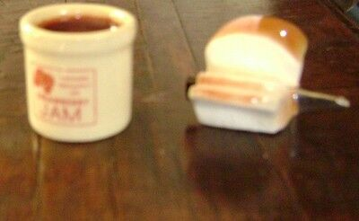 Arcadia Miniature Jam Jar & Loaf of Bread w/Knife in it Salt and Pepper Shakers