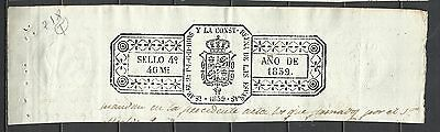 Z18-Sello Fiscal Timbrologia Sellado Isabel Ii 1839 Maravedies