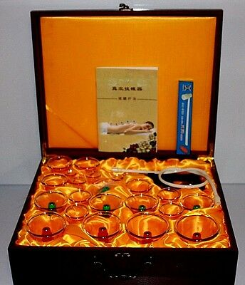 Luxury 24 Pieces Cupping Set Magnetic Acupuncture Therapy In Wooden Case