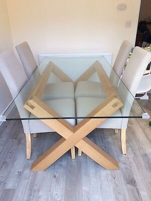 Glass and Wood Dining Table (No Chairs)