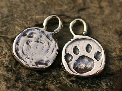 Paw Print Charm in Sterling Silver, Dog Paw or Cat Paw