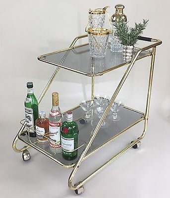 Vintage Smoked Glass Mid Century Drinks Trolley