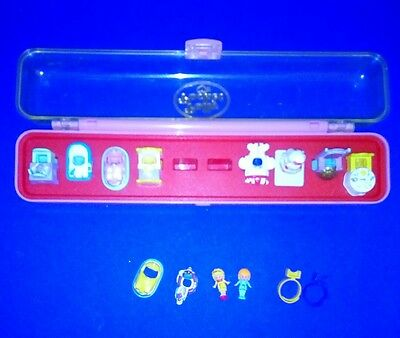Vintage Polly PocketRing Case 1989 EUC original figures and collection of rings