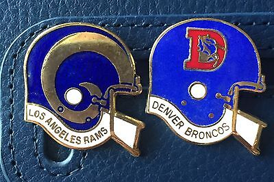 Pair Of helmet style American Football metal badges - LA Rams & Denver Broncos