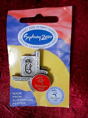 Sydney 2000 Olympic Games Two Great Cities Pewter Pin Badge
