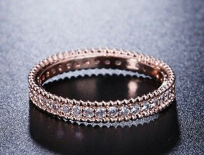 8bff36064 Genuine Cz Rose Gold Stacking Eternity Ring Lovely With Wedding Band Size 52