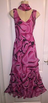 WINDSMOOR size 14 silk dress pink mother of the bride scarf lined wedding